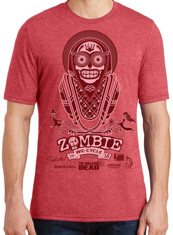 2018 Zombie Bike Ride Men's Tee in Red Frost
