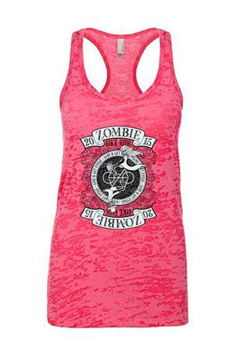 2015 Zombie Jane Racerback Burnout Tank - Shocking Pink