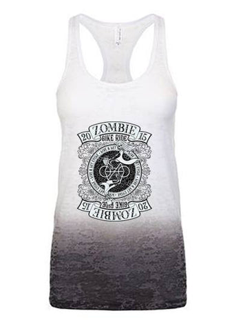 2015 Zombie RIDE Racerback Burnout Tank - Ombre White/ Black