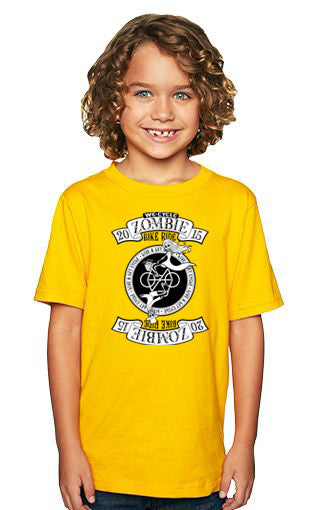 2015 Zombie Youth Shirt - Gold - Sizes 5yr and up.