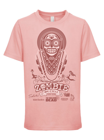2018 Zombie Bike Ride Youth Tee in Light Pink