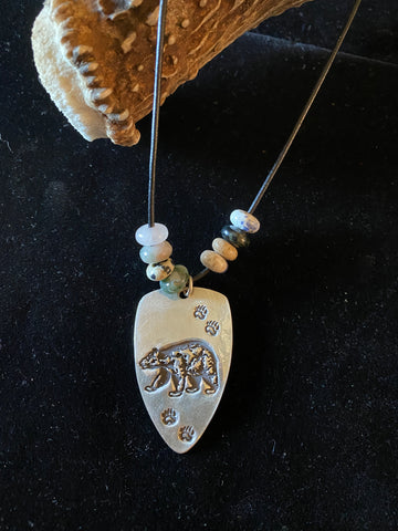 Bear Necklace with paw prints 18/43