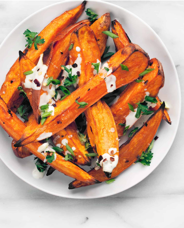 Honey Roasted Yams with Chili Yogurt