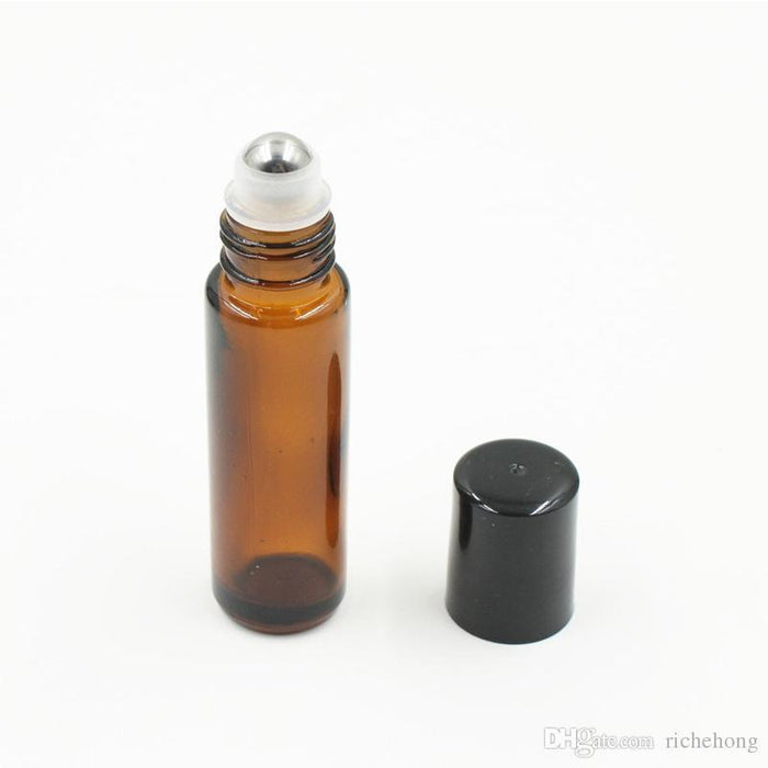 Roll On Amber Glass Bottle 10 ml (1/3 oz) - Sunrise Botanics