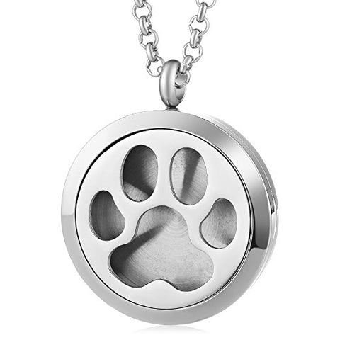 Aromatherapy Diffuser Necklace Paw Prints
