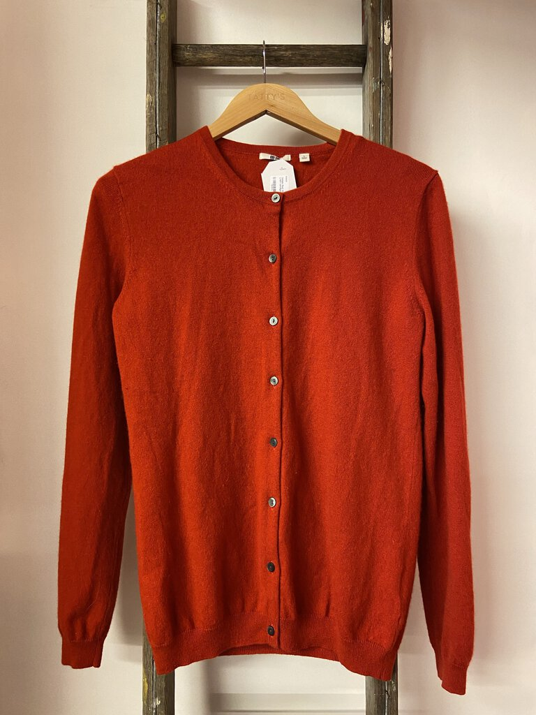 Red 100% cashmere L/slv cardigan