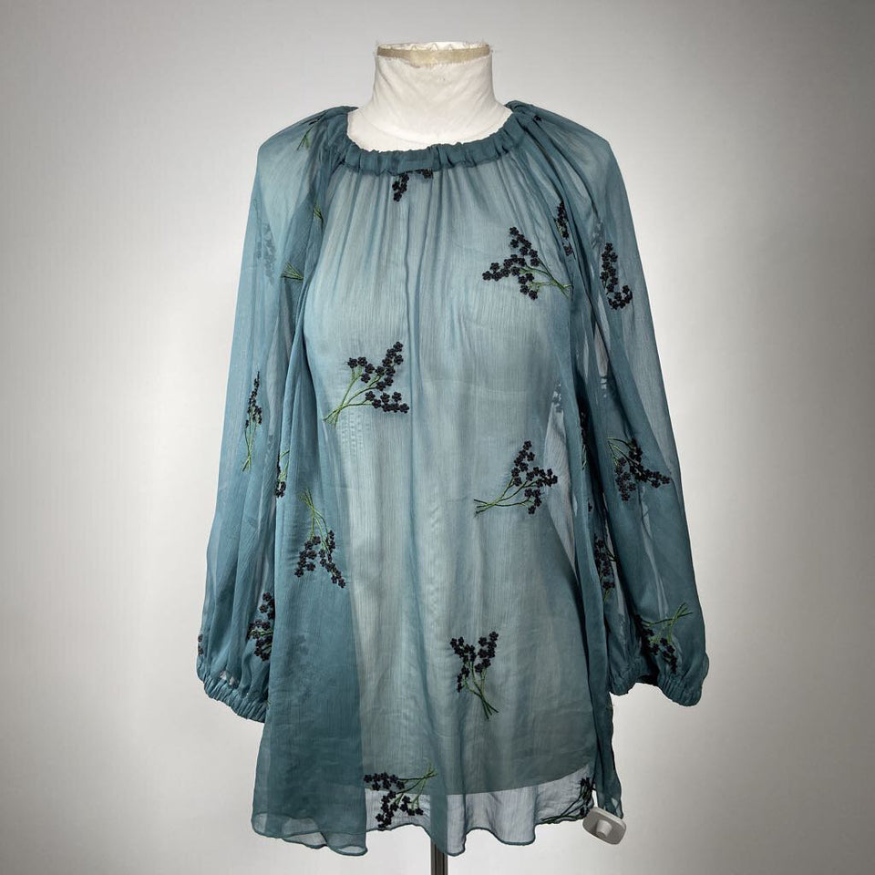 Semi-sheer Blue L/slv blouse w/ floral emboidery