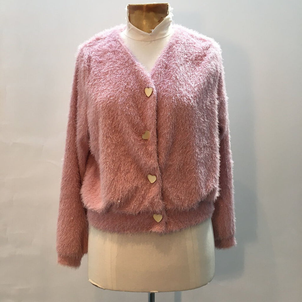 (New!) fluffy sparkle cardigan w heart shaped buttons