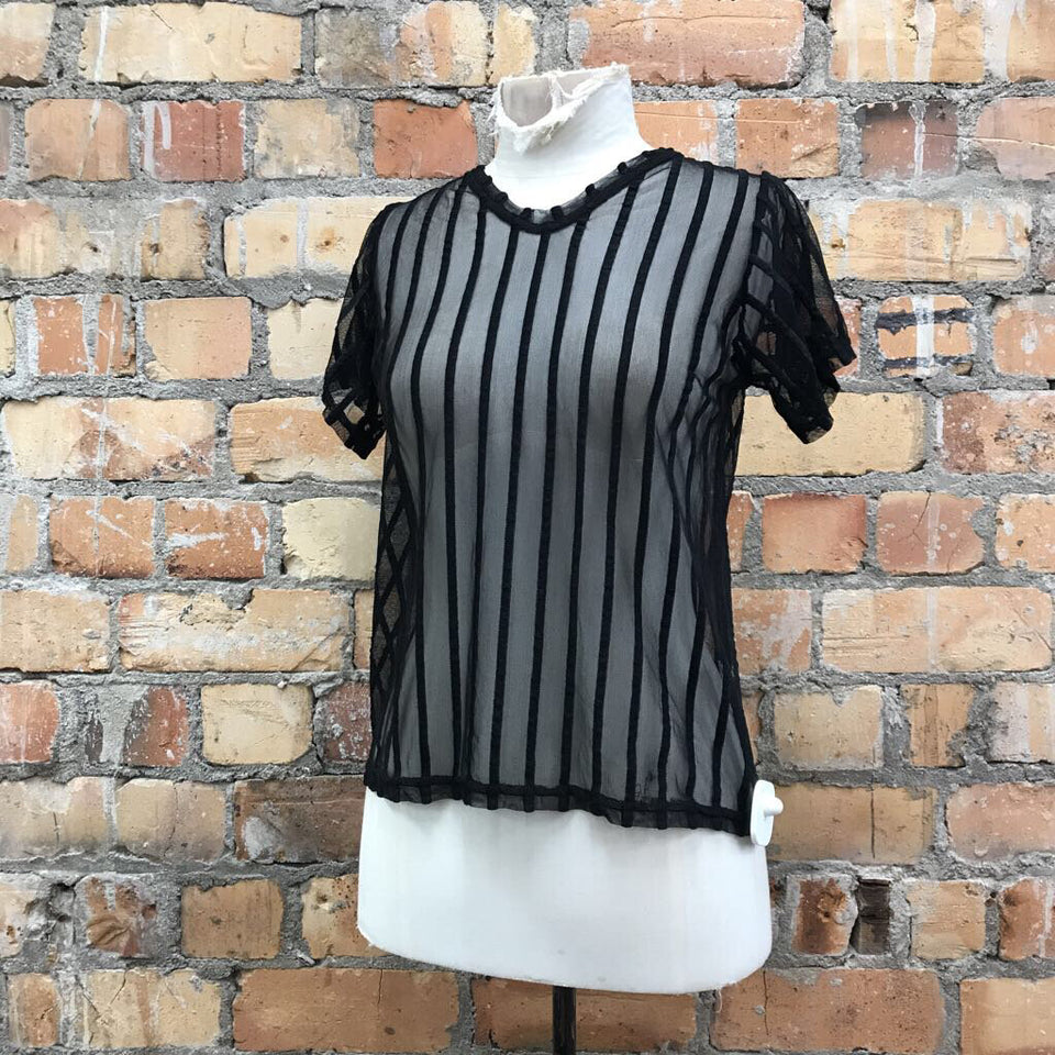 black s/sl mesh t-shirt w velvet stripes