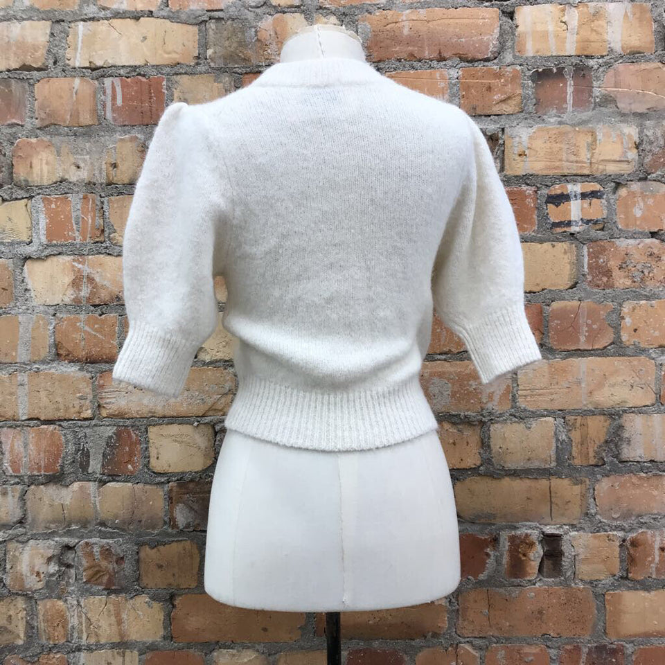 crewneck short, puff sleeved knit top