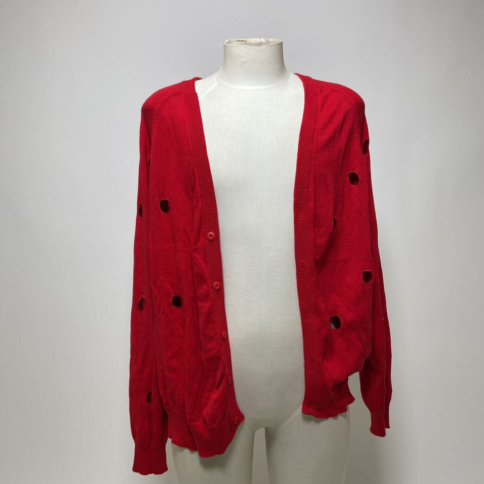 *mens red l/slv b.up cardigan w/ laser cut hole detail
