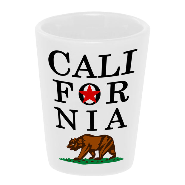 California Golden Bear 1.5 oz. White Ceramic Shot Glass Bronze-Baboon wholesale