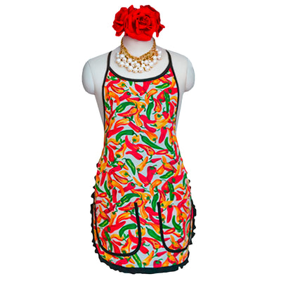 "Wholesale by Bronze Baboon: ""Chilies-White"" Retro Apron"