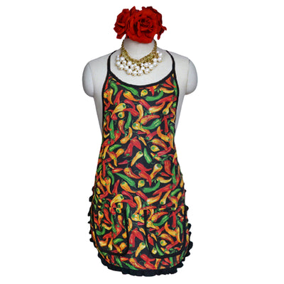 "Wholesale by Bronze Baboon: ""Chilies-Black"" Classic Apron"