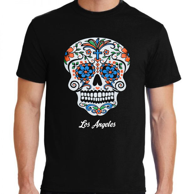 """Sugar Skull Color Me-Blue"" T-shirt"