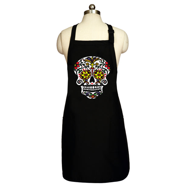 "Bronze Baboon wholesale ""Color Me-Red"" Long Men's Day of the Dead Apron"