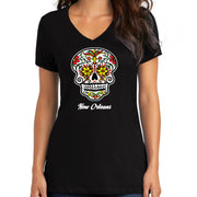 """Sugar Skull Color Me-Red"" V-Neck"