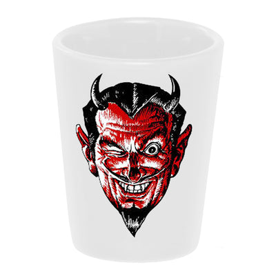 "Bronze Baboon wholesale ""Handsome Devil"" 1.5 oz. White Ceramic Shot Glass"