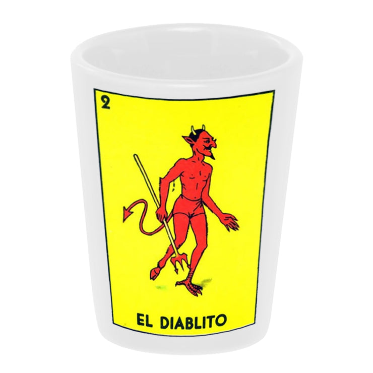 "Bronze Baboon wholesale ""Loteria-Diablito"" 1.5 oz. White Ceramic Shot Glass"