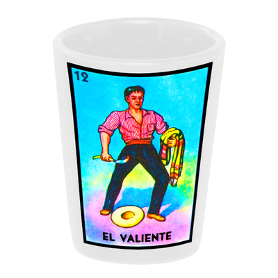 "Bronze Baboon wholesale ""Loteria: El Valiente"" (The Brave) 1.5 oz. White Ceramic Shot Glass"