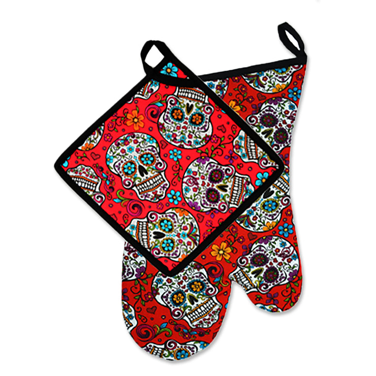 "Wholesale by Bronze Baboon: ""Folkloric-Red"" Oven Mitt & Pot Holder Set"