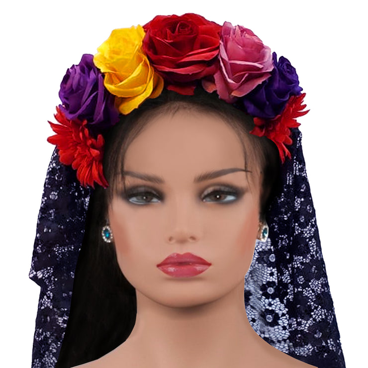 Wholesale by Bronze Baboon: Frida's Flowers Colorful Crown with Veil
