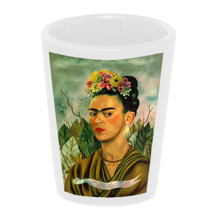 "Bronze Baboon wholesale ""Frida with Picasso Earing"" 1.5 oz. White Ceramic Shot Glass"
