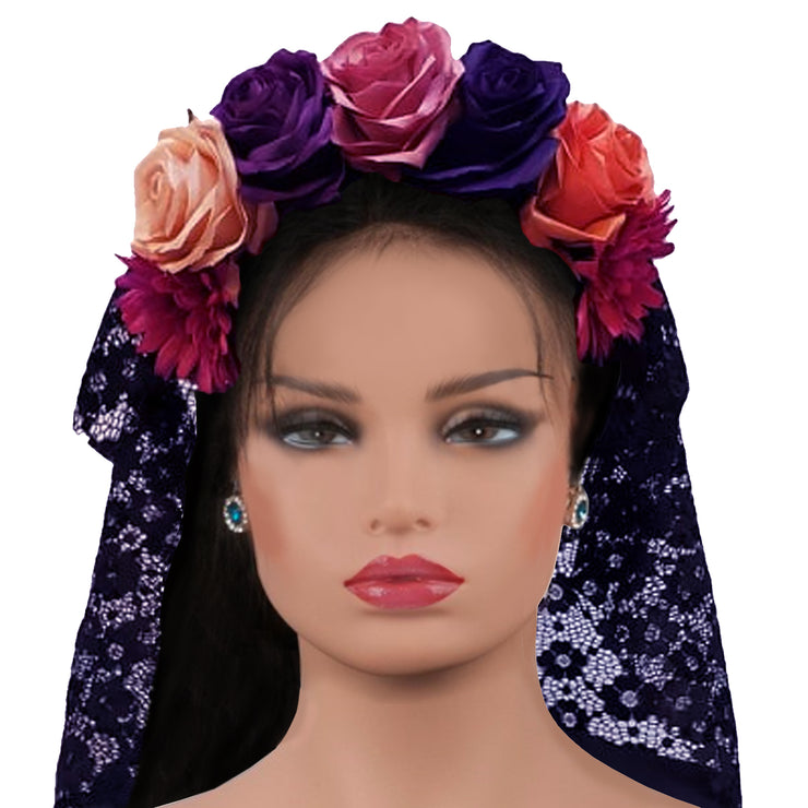 Wholesale by Bronze Baboon: Frida's Flowers Pink-Purple-Beige Crown with Veil