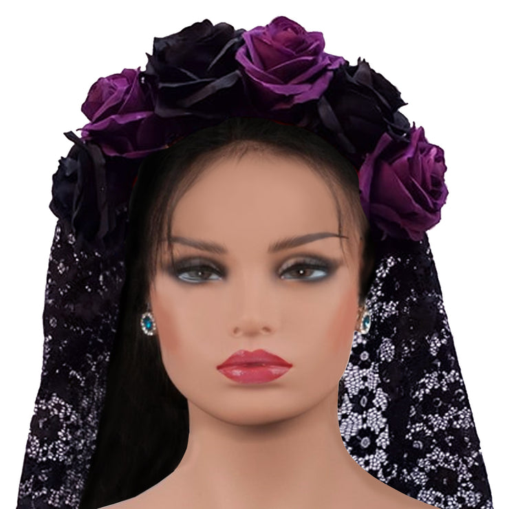 Wholesale by Bronze Baboon: Frida's Flowers Purple & Black Crown with Veil