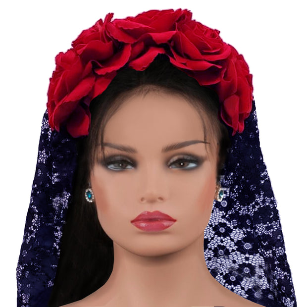 Wholesale by Bronze Baboon: Frida's Flowers Red Crown with Veil