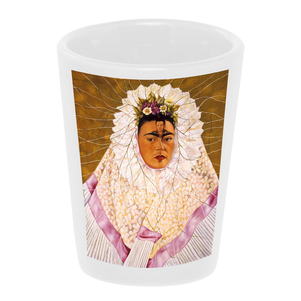 "Bronze Baboon wholesale ""Frida Tehuana"" 1.5 oz. White Ceramic Shot Glass"