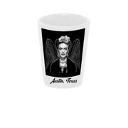 "Bronze Baboon wholesale ""Frida Wings Austin, Texas"" 1.5 oz. White Ceramic Shot Glass"