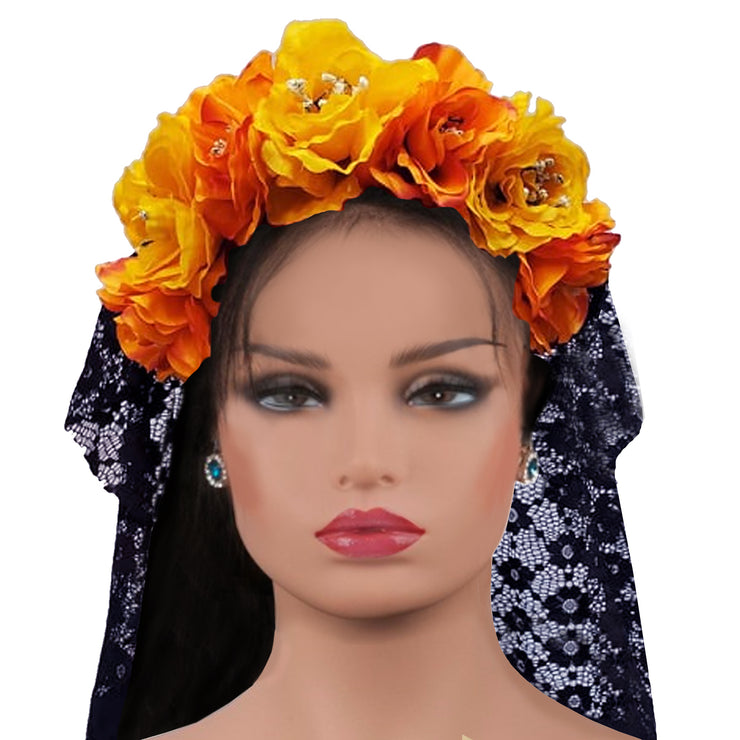 Wholesale by Bronze Baboon: Frida's Flowers Yellow & Orange Crown with Veil