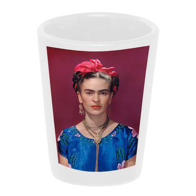 "Bronze Baboon wholesale ""Frida with Pink Bow"" 1.5 oz. White Ceramic Shot Glass"