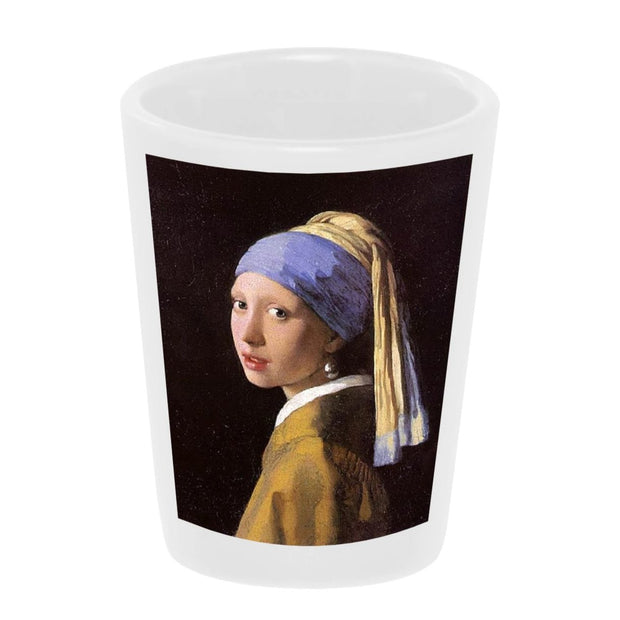 "Bronze Baboon wholesale ""Girl With A Pearl Earring"" by Johannes Vermeer shot glass."