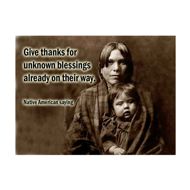 "Bronze Baboon Wholesale ""Native American: Give Thanks"" Prayer 2.5"" x 3.5"" Magnet"