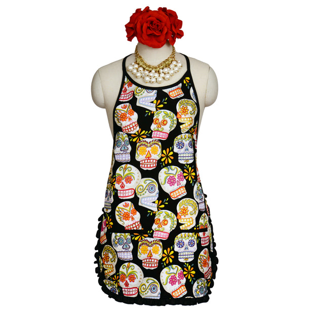 "Wholesale by Bronze Baboon: ""Glitter Black Sugar Skulls"" Classic Apron"