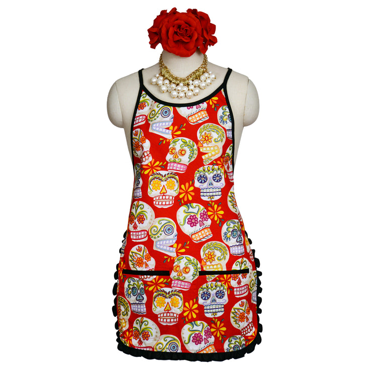 Wholesale by Bronze Baboon: Glitter Red Sugar Skulls Classic Apron