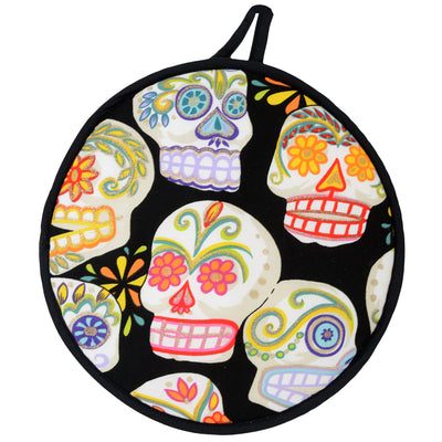 "Wholesale by Bronze Baboon ""Glitter Sugar Skulls-Black"" Tortilla Warmers"