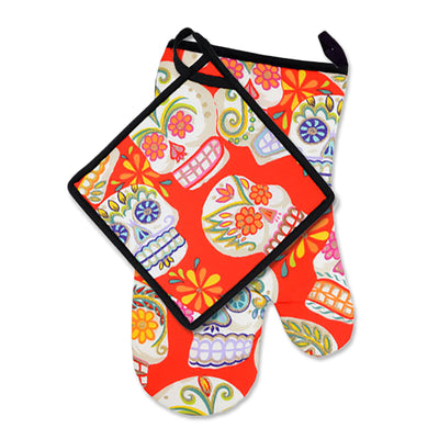 "Wholesale by Bronze Baboon: ""Sugar Skulls Glitter-Red"" Oven Mitt & Pot Holder Set"