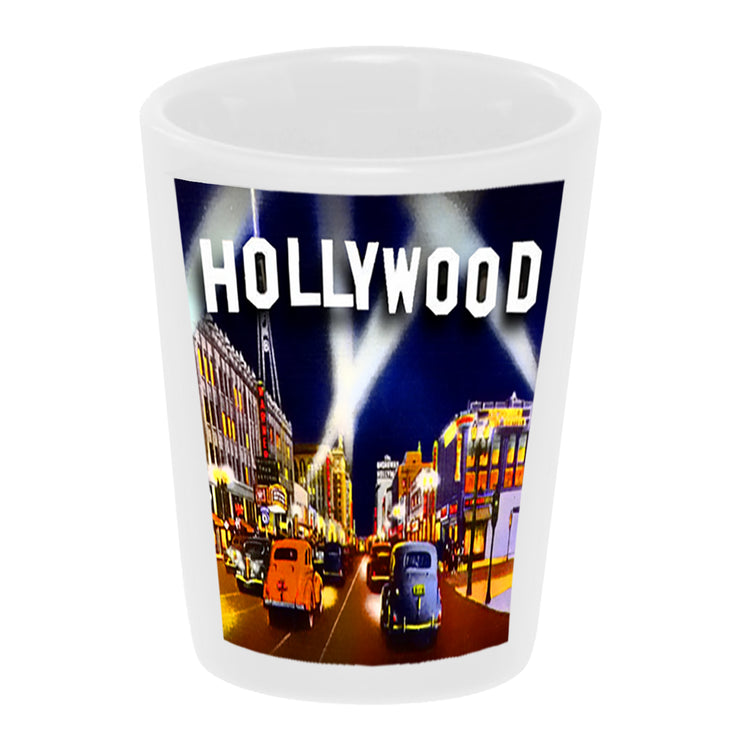 "Bronze Baboon wholesale ""Hollywood Boulevard"" 1.5 oz. White Ceramic Shot Glass"