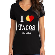 Bronze Baboon wholesale I Love Tacos San Antonio women's V-necks.