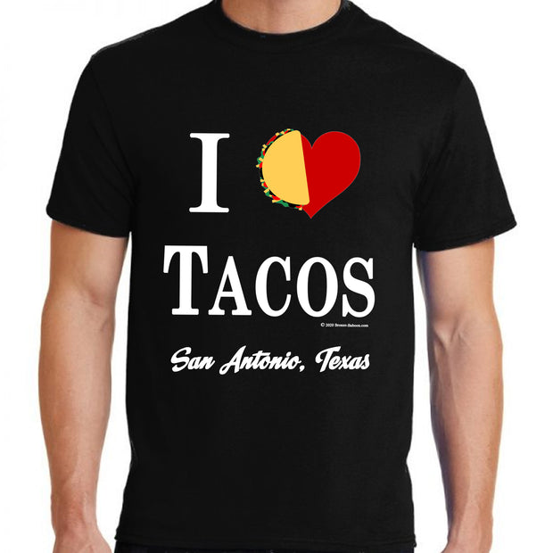 "Wholesale by Bronze Baboon ""I (love) Tacos"" T-Shirt San Antonio Texas"