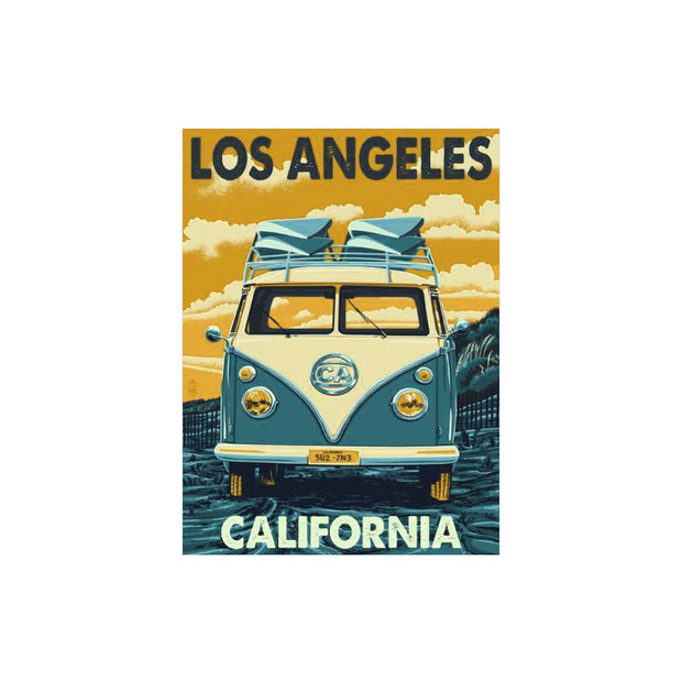 "Bronze Baboon wholesale. We make custom magnets. ""Vintage: Los Angeles California VW Bus Magnet"" 2.5"" x 3.5"" Magnet"