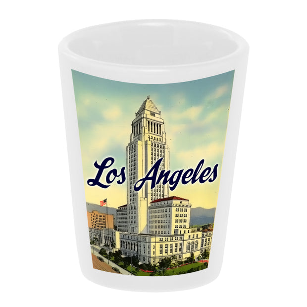"Bronze Baboon wholesale ""Los Angeles City Hall"" 1.5 oz. White Ceramic Shot Glass"