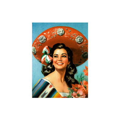 "Bronze Baboon wholesale magnets - ""La Charra"" (Wide-brimmed Hat) Mexican Calendar Girl  2.5"" x 3.5"" Magnet"