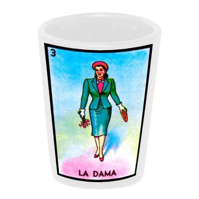 "Bronze Baboon Wholesale: ""Loteria: La Dama"" (the Lady) 1.5 oz. White Ceramic Shot Glass"