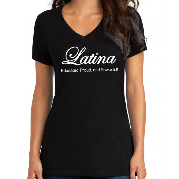 "Wholesale by Bronze Baboon ""Latina: Educated, Proud and Powerful"" V-Neck T-Shirt"