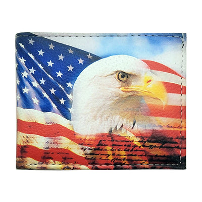Bronze Baboon Wholesale - American Bald Eagle Bicast Leather Handcrafted Bifold Pocket Wallet