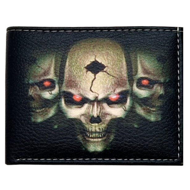 Wholesale by Bronze Baboon: Skulls with Glowing Eyes Wallet